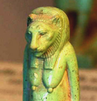 Image suggestive of Cathune Bubastis, an Egyptian cat goddess as taken from Web; original found in Louvre, Paris