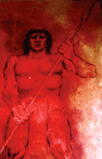 Painting of a Mayan warrior,  photo taken in Merida Mexico by Jim McPherson, 2010