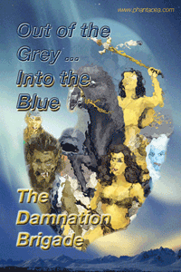 Members of the Damnaton Brigade, from the cover to the graphic novel, artwork by Ian Bateson, coloured in 2012