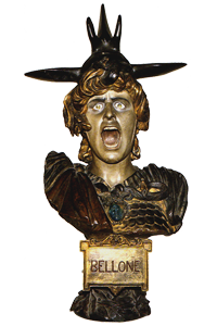 A bust entitled Bellone, scanned in from The Colour of Sculpture, 1996