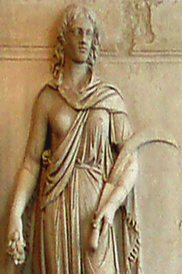 An ancient goddess with a moon-sickle, photographed in a one-time Roman bathouse, circa Nero's time, in  2008