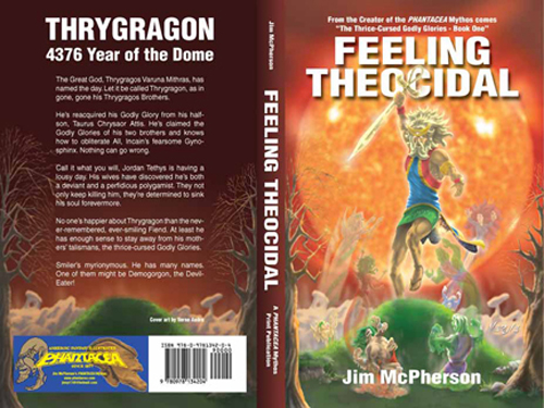 Full Cover for Feeling Theocidal, artwork by Verne Andru, 2008; rollover image is an earlier effort at creating a cover for the novel, collage prepared by Jim McPherson using only his own photographs, 2006
