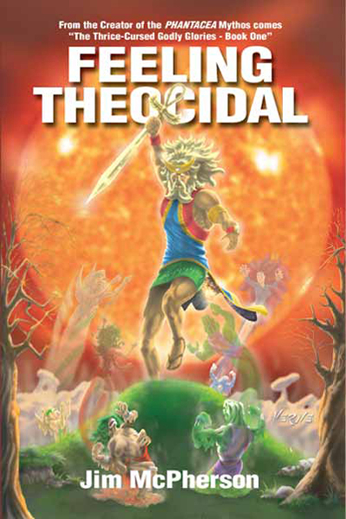 The front cover for Feeling Theocidal, artwork by Verne Andru, 2008, with a rollover collage prepared by Jim McPherson, 2008, for the same book