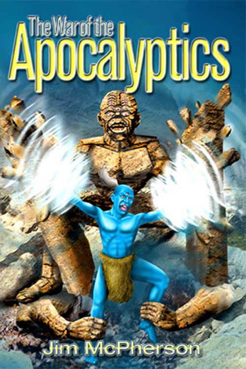The cover for War of the Apocalyptics, Ian Bateson, 2009, with a rollover of an alternative cover for the same book prepared by Jim McPherson, 2003