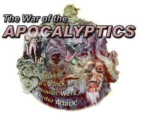 Collages featuring the Apocalyptics over top of the Damnation Brigade