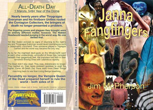 Full Front and Back Cover for Janna Fangfingers, text and cover collage prepared by Jim McPherson, 2011cover