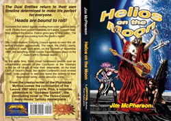 Full cover for Helios on the Moon, with spine, artiwork by Ricardo Sandoval, 2014