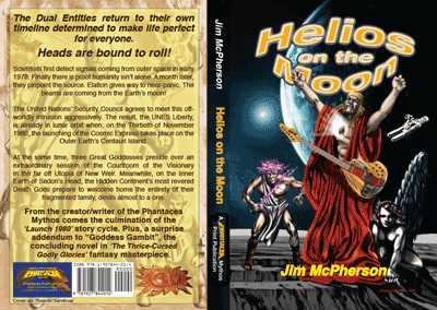 "Full covers for print version of ""Helios on the Moon"", artwork by Ricardo Sandoval, 2014"