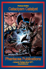 Ad incorporating the front cover for the Cataclysm Catalyst graphic novel, art by Verne Andru, ad prepared by Jim McPherson, 2014