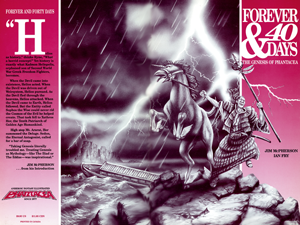 Front and back cover for 4ever40, art by Ian Fry and Ian Bateson, 1990