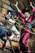 Walter Molino illustration of the hula hoop craze in the 1950/60s