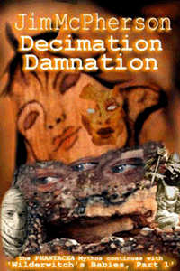 Original 2004 front cover collage for Decimation Damnation, prepared by Jim McPherson