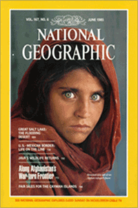 Front cover picture of Sharbat Gula as it appeared on National Geographic cover in June 1985